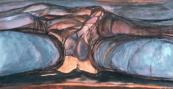"© Eunice Golden 1972 ""Landscape #160"" Mixed media on papeer 26"" x 51"""
