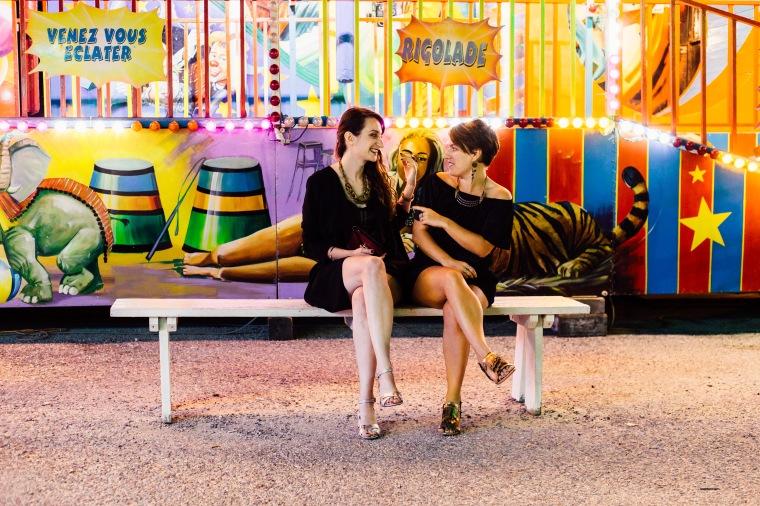 fun fair sitting on the bench