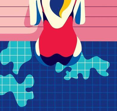 malika favre swimsuit back pool