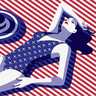 malika favre swimsuit planes stripes